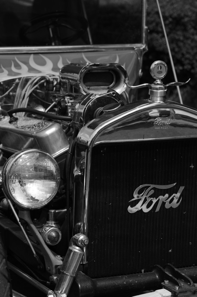 a vintage ford on fire